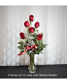 6 Roses arranged Flower Arrangement
