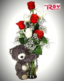 Huggy Bear Flower Arrangement
