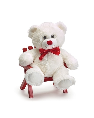 White Bear with Red Bow Gifts