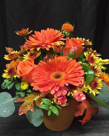 Fall Centrepiece with Gerberas and Roses Flower Arrangement