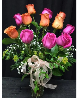 1 Dozen Orange and Pink Roses Flower Arrangement