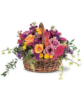 Garden Gathering Basket Flower Arrangement