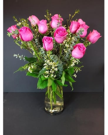 One Dozen Hot Pink Roses