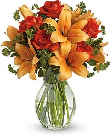 Fiery Lily and Rose Flower Arrangement