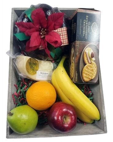 Christmas Gourmet Fruit Tray Flower Arrangement