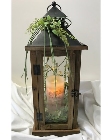 Lantern Wood and Metal (lant12) Flower Arrangement