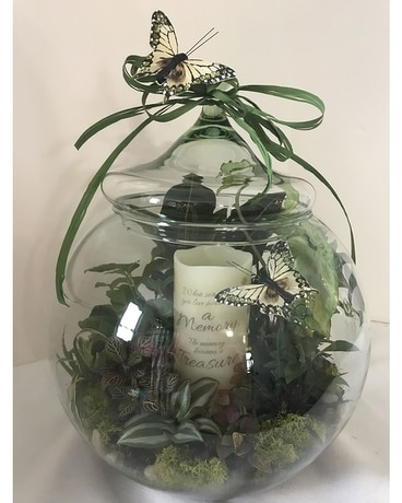 "12"" TERRARIUM WITH MEMORY CANDLE Flower Arrangement"