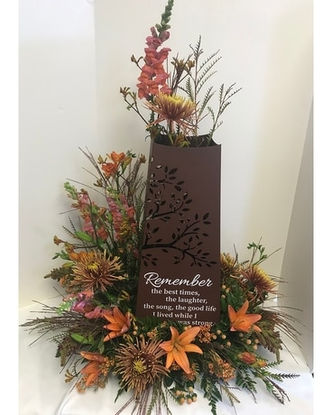 Memorial Pillar With Fresh Flower Design