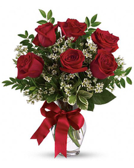 1/2 Dozen Red Rose Bouquet Flower Arrangement