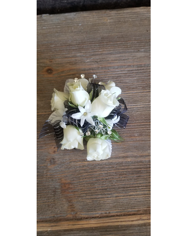 White Rose Silver/Black Ribbon Corsage