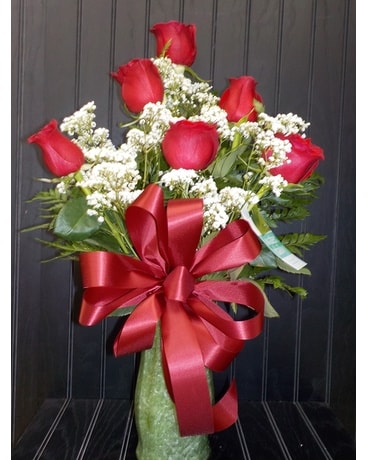 6 Roses Flower Arrangement