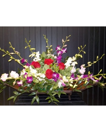 Dendronium Orchid & Rose Arrangement Flower Arrangement