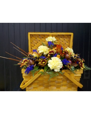 Fall Picnic Basket Arrangement Flower Arrangement