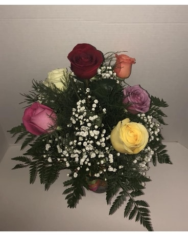 Multi Colored Roses Flower Arrangement