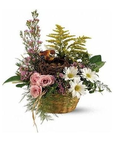 Nesting Bird Basket Flower Arrangement