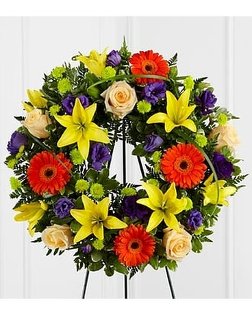 Radiant Remembrance Wreath Funeral Arrangement