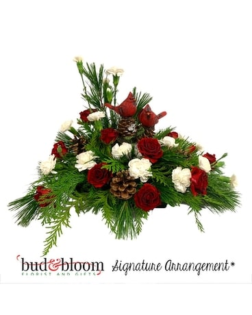 Christmas Cardinals Flower Arrangement