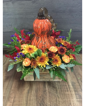 Blown Glass Fall Gourd Flower Arrangement