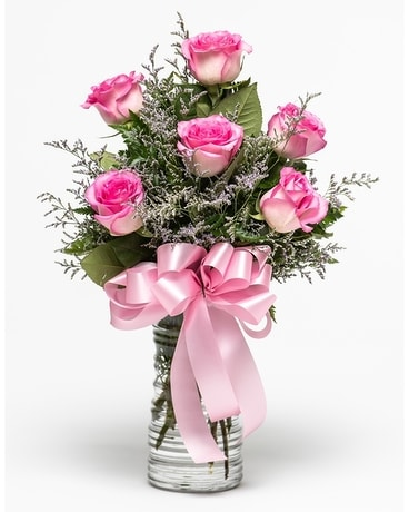 Six Pink Roses Flower Arrangement