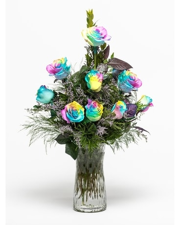 Dozen Rainbow Roses Flower Arrangement