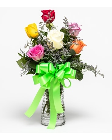 Six Mixed Roses Flower Arrangement