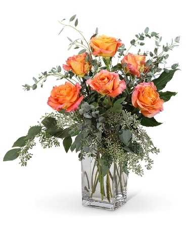 Orange Roses (6) Flower Arrangement