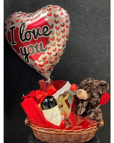 Love's Gift Basket with Wine Gift Basket