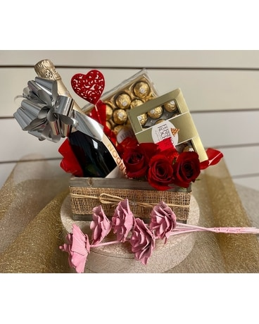 Father's Day Gift Basket with Champagne Gift Basket