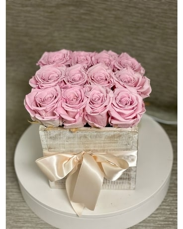 Pink Preserved Rose Box Flower Arrangement