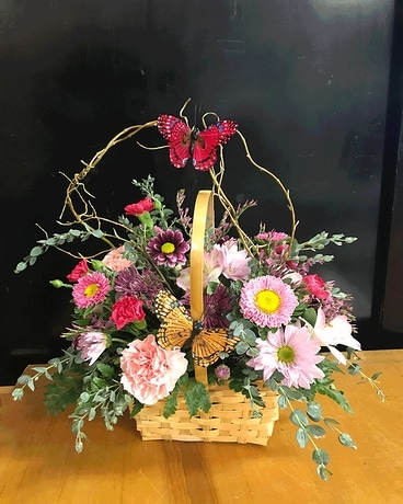 Basket of Butterflies Flower Arrangement