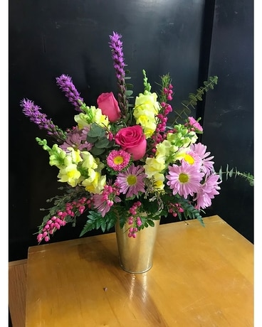 Bucket Of Blooms Flower Arrangement