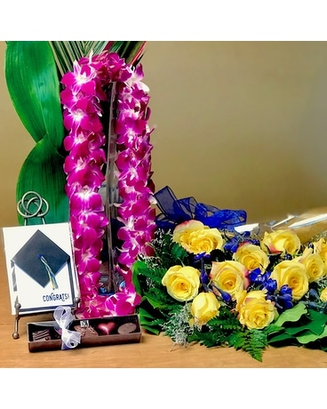 Grad Pack W/Lei - $119.95 Call to Preorder Flower Arrangement