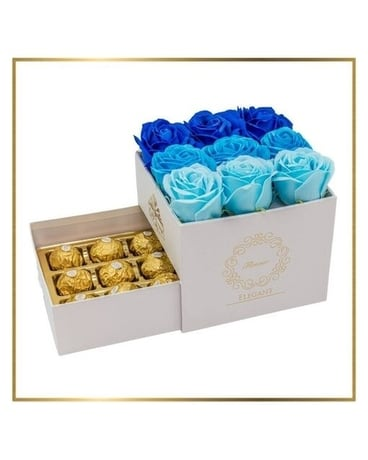 Blue Soap Roses Ombre with Chocolates Flower Arrangement