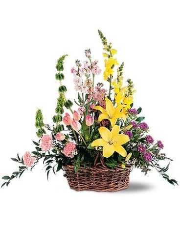 Springtime Basket Flower Arrangement