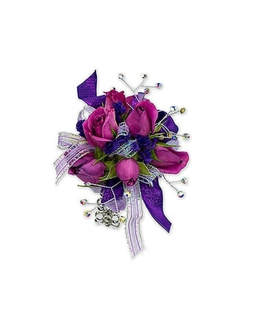 Royal Purple Wrist Corsage Flower Arrangement