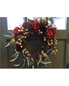 Rusty Rose and Lotus Pod Wreath