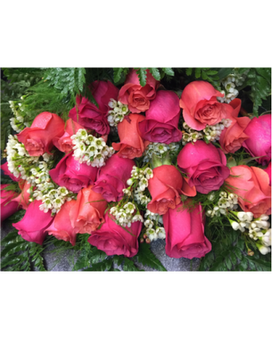 Wrapped Mixed Color Roses
