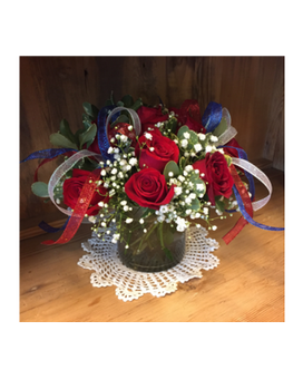 Patriotic Red Roses Arranged Flower Arrangement