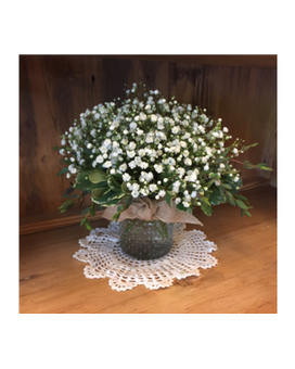 Baby's Breath In Hobnail Glass Flower Arrangement