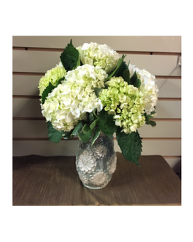 White and Green Hydrangea Flower Arrangement