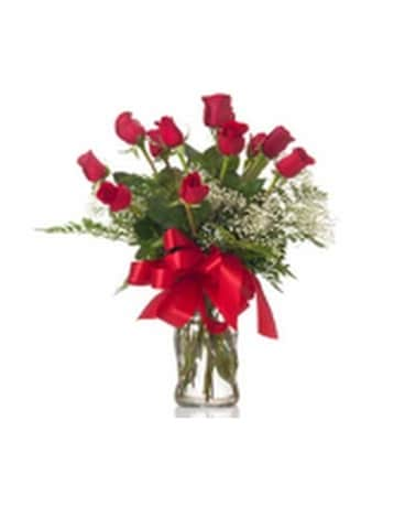 One Dozen Roses Flower Arrangement