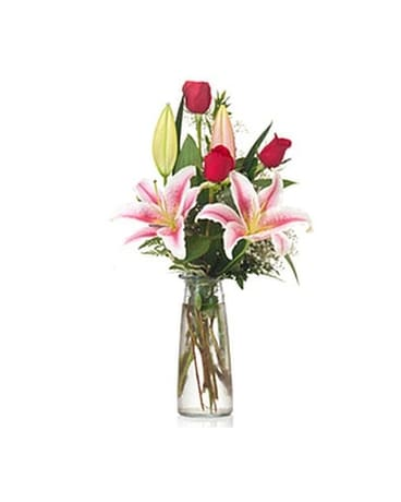 Buds and Blooms Roses and Stargazer Budvase Flower Arrangement