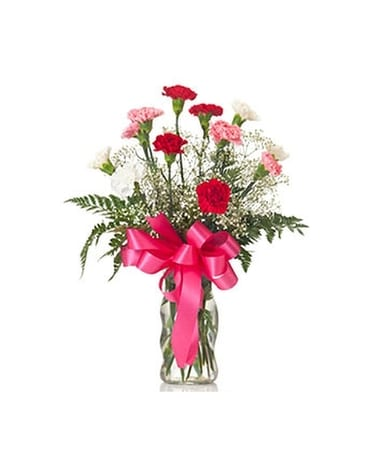Buds and Blooms Dozen Carnations Flower Arrangement