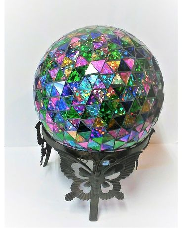 CUT GLASS GEO COLORFUL GAZING BALL Custom product