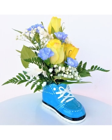 Blue Baby Sneaker Flower Arrangement
