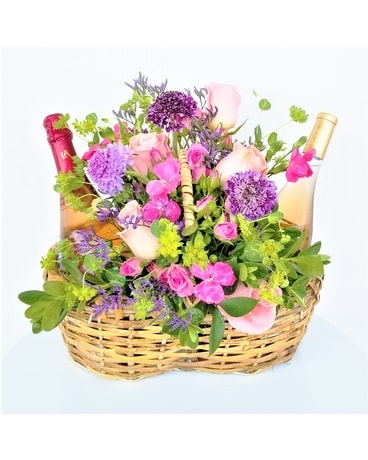 Basket of Blooms & Bottles Flower Arrangement
