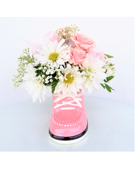 Pink Baby Sneaker Flower Arrangement