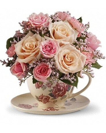 Victorian Teacup Bouquet Flower Arrangement