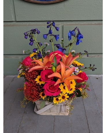 Blue Skies Basket Flower Arrangement