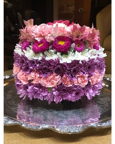 Shay's Birthday Flower Cake Flower Arrangement